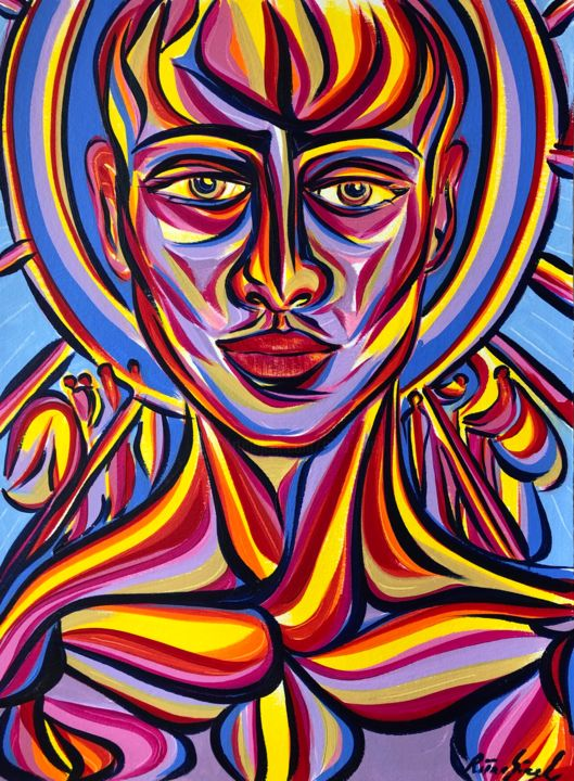 Portrait - Painting,  15.9x11.7 in, ©2020 by Riina Sirel -                                                                                                                                                                                                                                                                                                                                                          Expressionism, expressionism-591, Colors, Fashion, Light, Portraits, Women