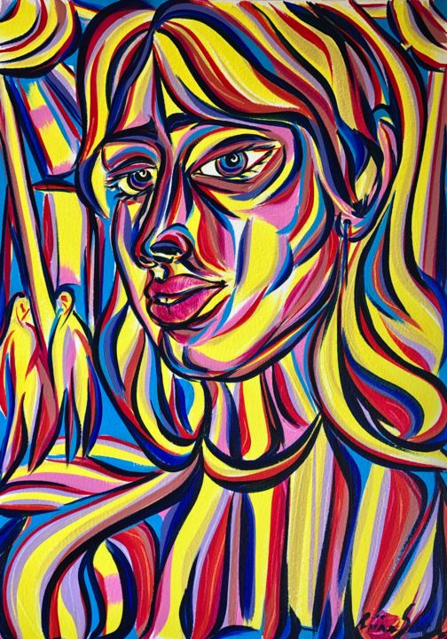 Monday night - Painting,  16.5x11.7 in, ©2020 by Riina Sirel -                                                                                                                                                                                                                                                                                                                                                          Expressionism, expressionism-591, Colors, Fashion, Light, Nature, Women