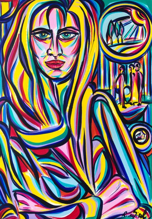 Wednesday thought - Painting,  16.5x11.7 in, ©2020 by Riina Sirel -                                                                                                                                                                                                                                                                                                                                                          Expressionism, expressionism-591, Colors, Fashion, Light, Nature, Women