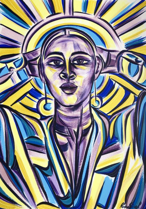 Women Painting, acrylic, expressionism, artwork by Riina Sirel