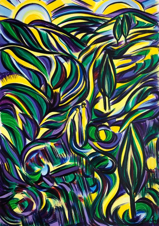 """Painting titled """"Walking aimlessly w…"""" by Riina Sirel, Original Art, Acrylic"""
