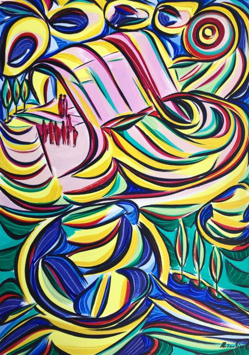 Color Painting, acrylic, expressionism, artwork by Riina Sirel