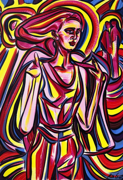"""Painting titled """"Stranger in disguise"""" by Riina Sirel, Original Art, Acrylic"""