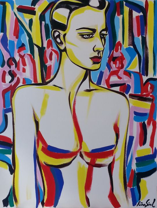 x-38 - Painting,  25.6x19.7 in, ©2015 by Riina Sirel -                                                                                                                                                                                                                                                                                                                                                          Expressionism, expressionism-591, Body, Colors, Women, Fashion, Portraits