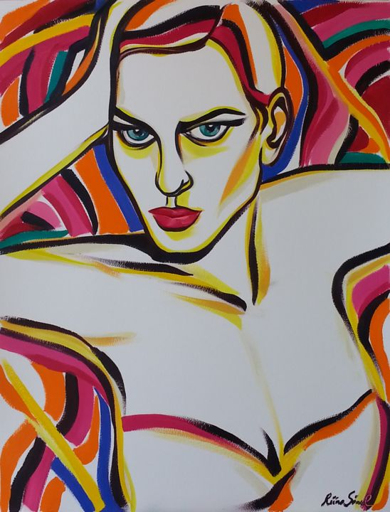 x-34 - Painting,  25.6x19.7 in, ©2015 by Riina Sirel -                                                                                                                                                                                                                                                                                                                                                          Expressionism, expressionism-591, Body, Colors, Women, Fashion, Portraits