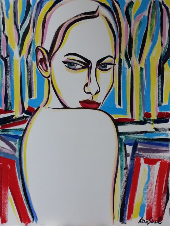 x-29 - Painting,  25.6x19.7 in, ©2015 by Riina Sirel -                                                                                                                                                                                                                                                                                                                                                          Expressionism, expressionism-591, Tree, Colors, Women, Nature, Portraits