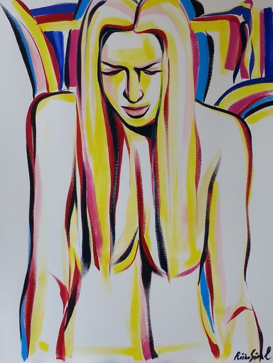 y-11 - Painting,  25.6x19.7 in, ©2015 by Riina Sirel -                                                                                                                                                                                                                                                                                                                                                          Figurative, figurative-594, Body, Colors, Women, Fashion, People
