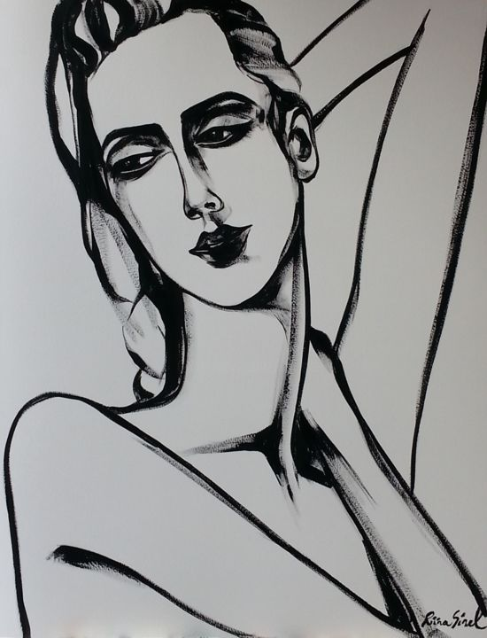 a-6 - Painting,  25.6x19.7 in, ©2015 by Riina Sirel -                                                                                                                                                                                                                                                                                                                                                          Figurative, figurative-594, Body, Women, Fashion, Black and White, Portraits