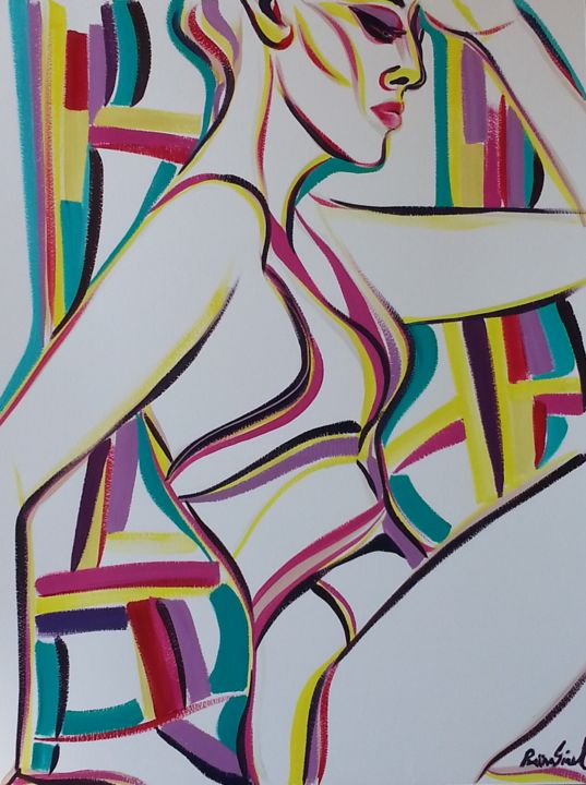 y-13 - Painting,  25.6x19.7 in, ©2015 by Riina Sirel -                                                                                                                                                                                                                                                                                                                                                          Figurative, figurative-594, Body, Colors, Women, People, Portraits