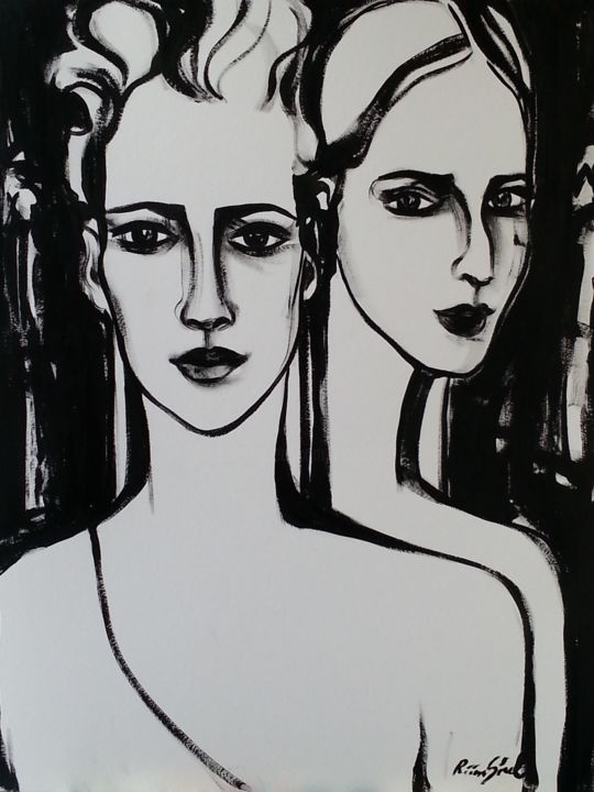 a-7 - Painting,  25.6x19.7 in, ©2015 by Riina Sirel -                                                                                                                                                                                                                                                                                                                                                          Figurative, figurative-594, Body, Women, Fashion, Black and White, People