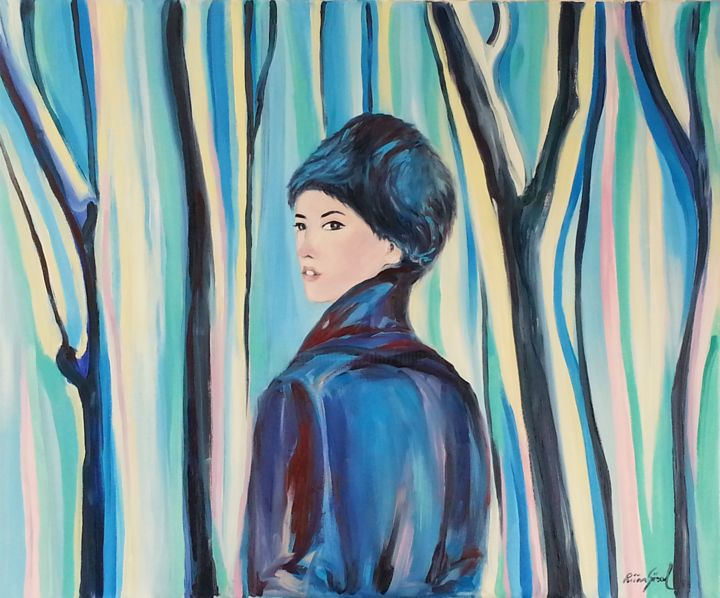 october - Painting,  21.3x25.6 in, ©2014 by Riina Sirel -                                                                                                                                                                                                                                                                                                                                                          Figurative, figurative-594, Tree, Colors, Women, Fashion, Nature