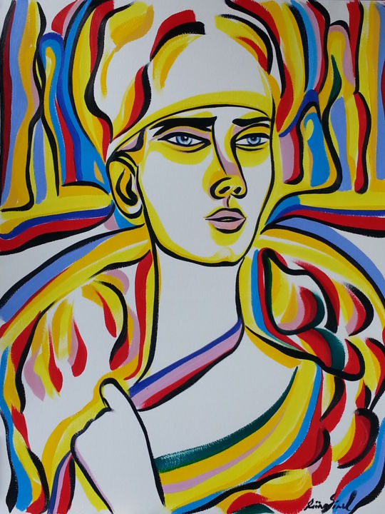 Y 36 - Painting,  25.6x19.7 in, ©2015 by Riina Sirel -                                                                                                                                                                                                                                                                                                                                                          Figurative, figurative-594, Body, Colors, Women, Fashion, Portraits