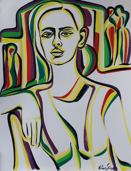 Y 39 - Painting,  25.6x19.7 in, ©2015 by Riina Sirel -                                                                                                                                                                                                                                                                                                                                                          Figurative, figurative-594, Body, Colors, Women, Fashion, People
