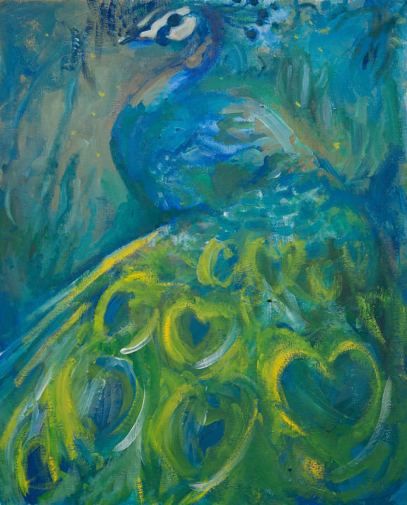 """Painting titled """"The Peacock"""" by River E. C. Darling, Original Art, Oil"""