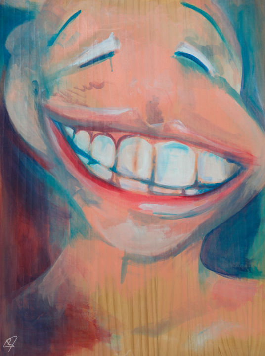 """Painting titled """"Fake Smile #1"""" by River E. C. Darling, Original Art, Oil"""