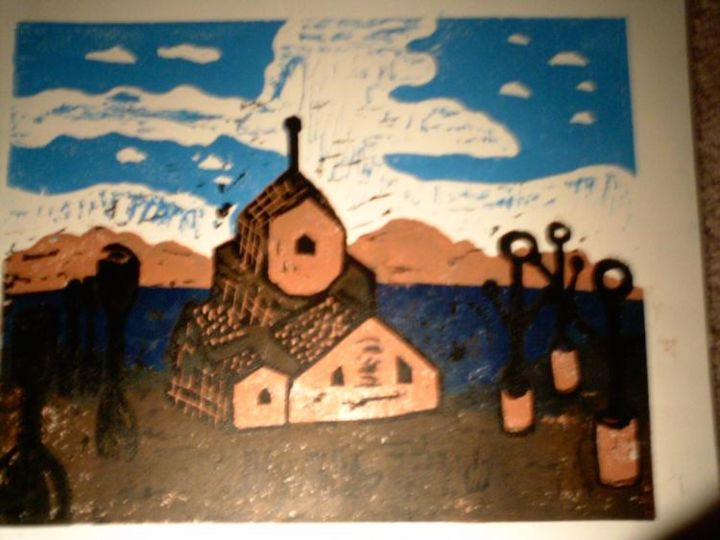 """Printmaking titled """"Coulds in the dista…"""" by Dude Obvious!, Original Art,"""