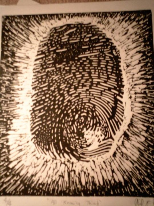 """Printmaking titled """"All Knowing thumb"""" by Dude Obvious!, Original Art,"""
