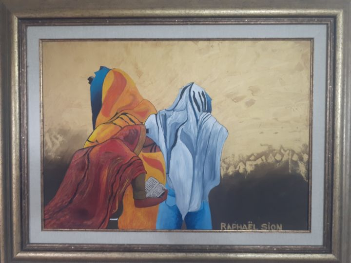 """Painting titled """"prayers"""" by Raphael Sion, Original Art, Oil Mounted on Stretcher frame"""