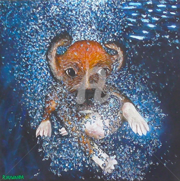 Beagle Puppy Swimming - Peinture,  19,7x19,7 in, ©2015 par Robbie Nuwanda -                                                                                                                                                                                                                                                                                                                                                                                                                                                                                                                                                                                          Expressionism, expressionism-591, Animaux, Chiens, Eau, dog, puppy, beagle, swimming, pool, water, underwater