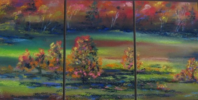 Vibrant Fall - Painting,  15x21 in, ©2013 by Rob Debartolo -