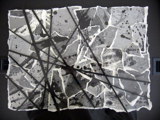 Collage/Monotype - Painting,  16x20 in, ©2013 by Rob DeBartolo -