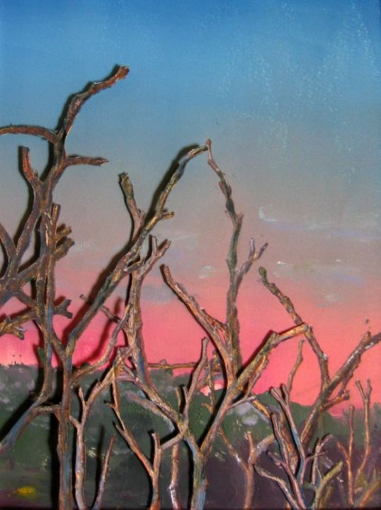 Morning Dew on Branches - Painting,  16x19 in ©2013 by Rob DeBartolo -