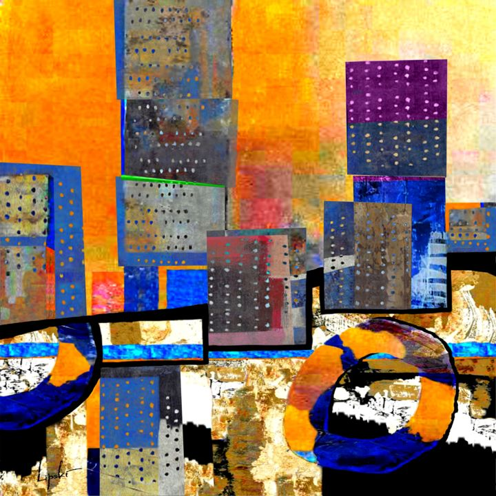 CITYSCAPE No 1 - Painting,  35.4x35.4x1.2 in, ©2019 by Robert Andler Lipski -                                                                                                                                                                                                                                                                                                                                                                                                                                                                                                                                                                                                                                                                                                                                                                          Expressionism, expressionism-591, Abstract Art, Architecture, Cities, Robert Andler-Lipski, Lipski, mixed media, painting, cityscape, landscape, modern art, contemporary art, abstract, abstract-expressionism, neo-expressionism