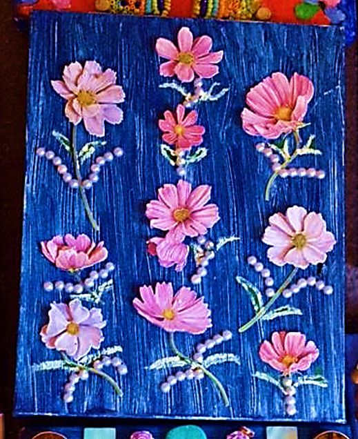"""Painting titled """"Pink flowers in blue"""" by Robert B, Original Art, Oil"""