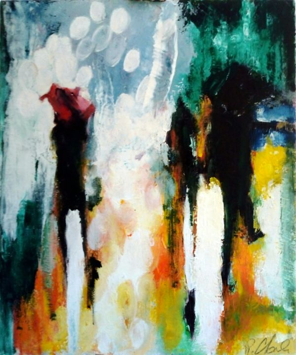 Nuances - Painting,  22.1x18.1x0.8 in ©2019 by Robert Charles -                                                    Abstract Expressionism, Cityscape, People