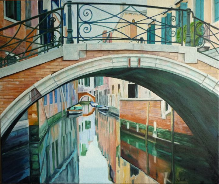 pont-barocco-san-aponal-(65x54).jpg - Painting,  21.3x25.6 in, ©2014 by Christian Claude Robert -                                                                                                                                                                          Figurative, figurative-594, Water
