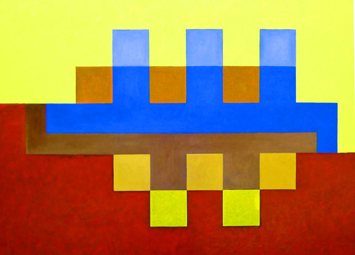 """Painting titled """"320  GEOMETRIQUE 1"""" by Robert Marencic, Original Art, Oil"""
