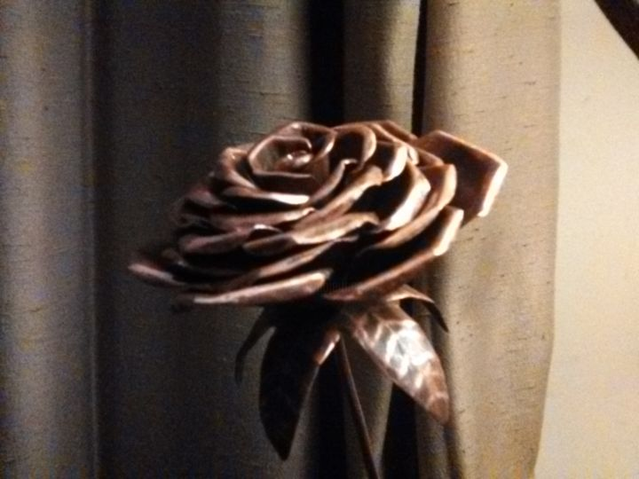 """Sculpture titled """"Spiral Stem Copper…"""" by Roberto Johnny, Original Art, Metals Mounted on Wood Panel"""