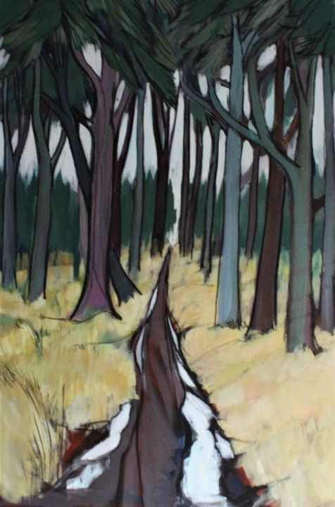 Forest Painting, acrylic, impressionism, artwork by Mark Harris