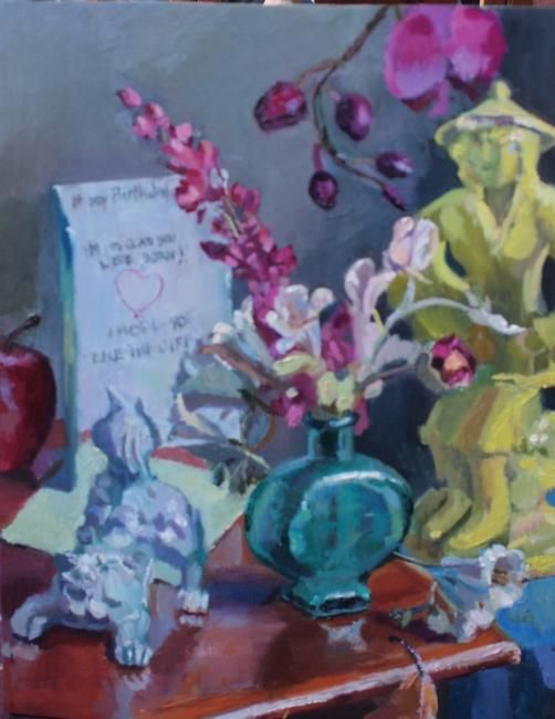 Birthday - Malerei,  20x16 in, ©2012 von Robin Frey -                                                                                                                                                      Oil painting of a birthday card, a yellow Japanese statue, a and a bouquet of flowers