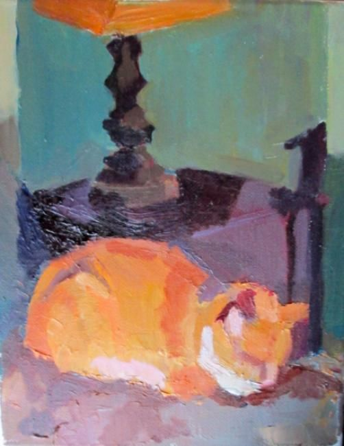 """Painting titled """"Catnap"""" by Robin Frey, Original Art, Oil"""