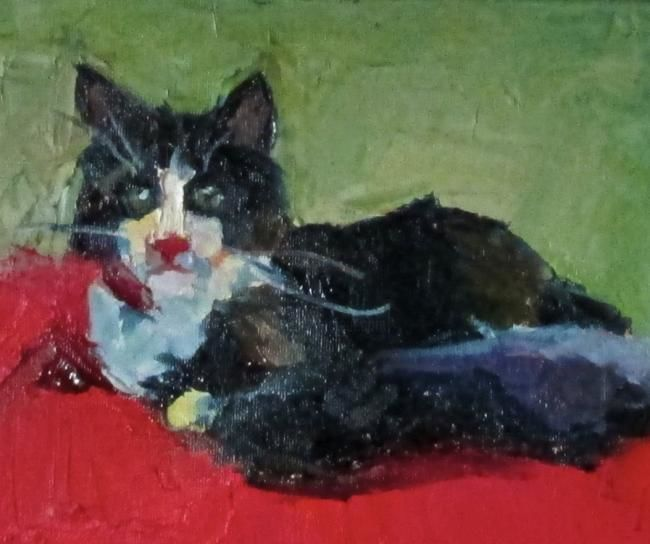 """Painting titled """"Kitty Cat"""" by Robin Frey, Original Art, Oil"""