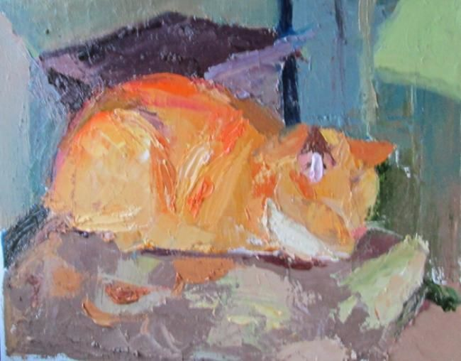 """Painting titled """"Catnap time"""" by Robin Frey, Original Art, Oil"""