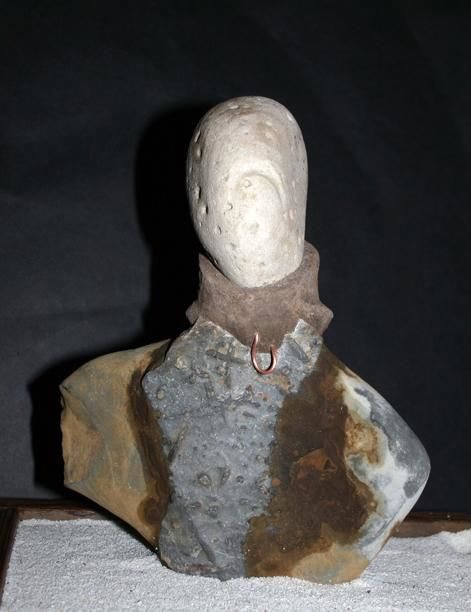 Girl with a Mink Collar - Sculpture ©2011 by Robin mols -            Stone and cement
