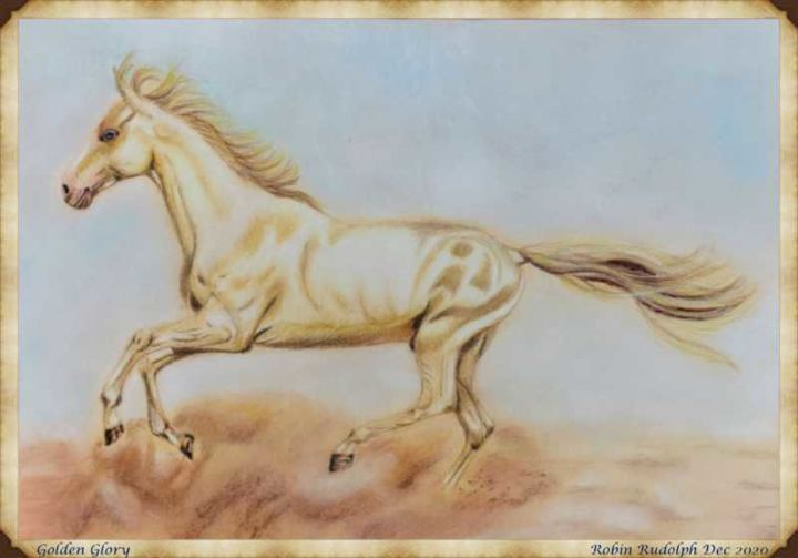 """Drawing titled """"Golden Glory"""" by Robin Rudolph, Original Art, Pencil"""