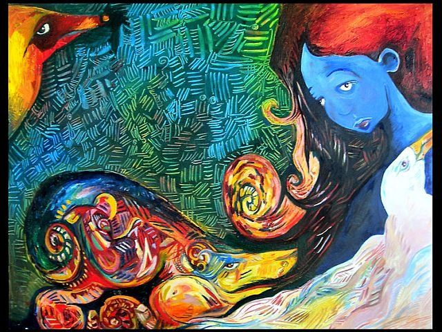 Dreamscape 1 (The sea was bleeding) - Painting,  28x22 in ©2006 by Rochele Royster -                            Abstract Expressionism, Oil Painting of a dream a young girl in a tsunami with an albatross and other sea creatures.