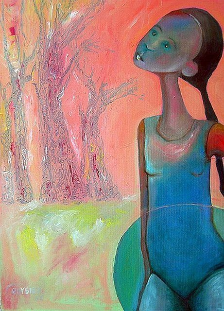 Dreamscape 2 (Sometimes I hear the forrest whispering) - Painting,  36x28 in ©2009 by Rochele Royster -                            Abstract Expressionism, Oil Painting of a young girl looking into the forest.