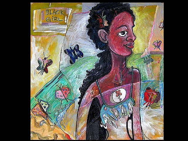 Dreamscape 5 (Black Girl with Butterflies) - Painting,  30x30 in ©2008 by Rochele Royster -