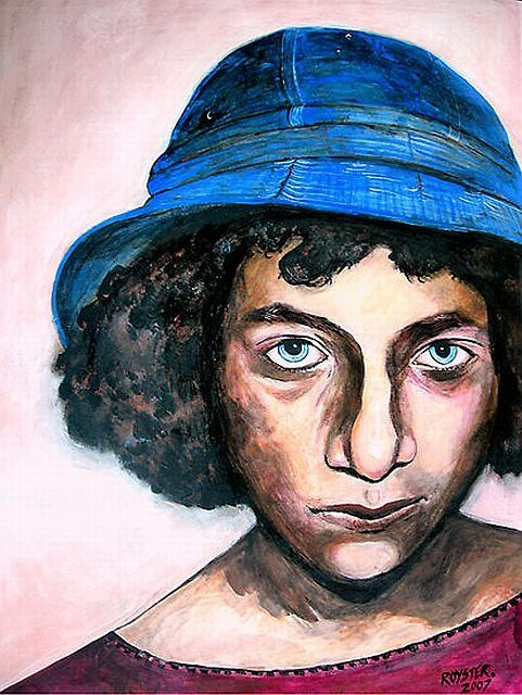 The Bluest Eye - Painting,  35x24 in ©2008 by Rochele Royster -                            Portraiture, blackart girl blue hat eyes jewish portrait expressionistic rocheleroyster chicago
