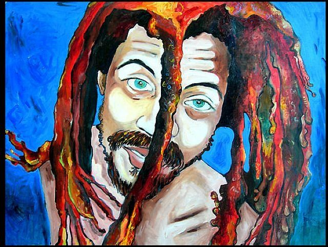 Bushman 2 - Painting,  40x34 in ©2005 by Rochele Royster -                            Abstract Expressionism, rasta dreads bushman carribean blackart negro african american orange blue rocheleroyster oil