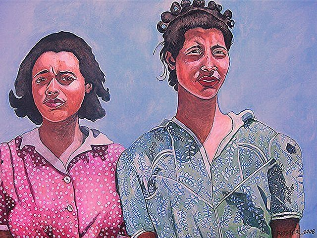 Sisters - Painting,  25x34 in, ©2008 by Rochele Royster -