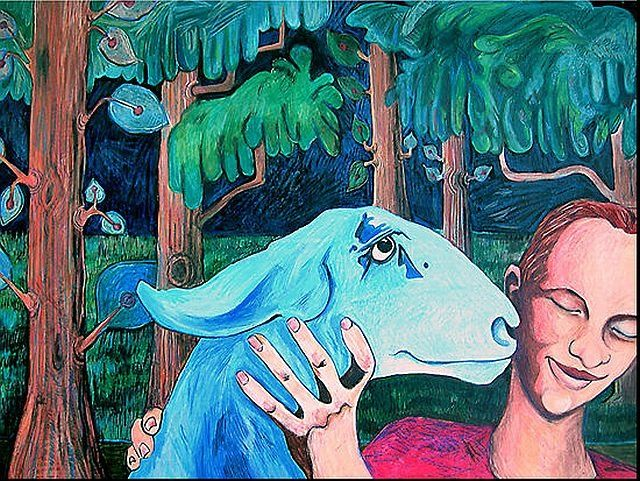 Girl and Goat - Painting,  37x24 in ©2008 by Rochele Royster -                            Abstract Expressionism, girl goat nature african american blue blackart trees expressionistic rocheleroyster chicago