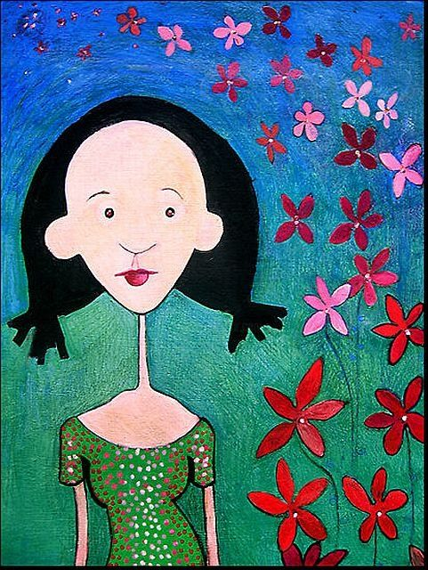 Her name was Bug - Painting,  14x11 in, ©2008 by Rochele Royster -                                                                                                                                                                                                                                                                                          black art, girl with pigtails, polka dots, race, bi-racial art, whimsy