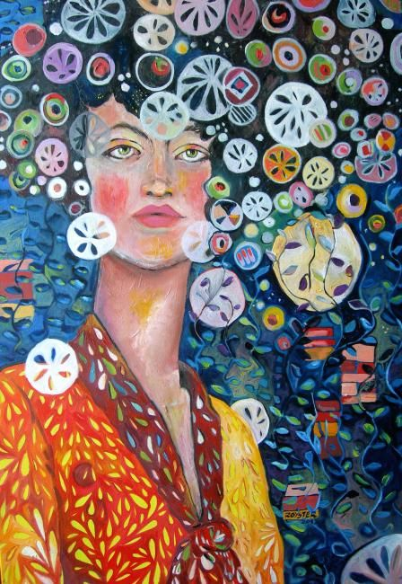 Sand dollar Skullduggery - Painting,  24x48 in ©2012 by Rochele Royster -                            Abstract Expressionism, Oil Painting on Canvas