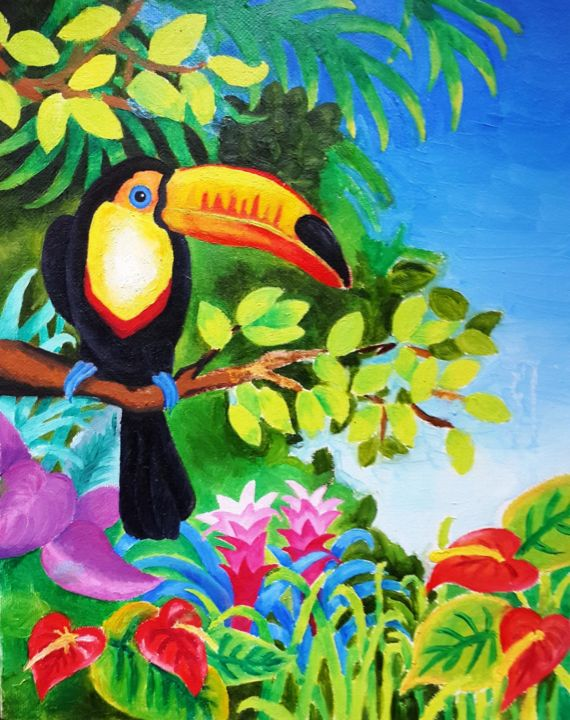 Toucan - Painting,  30x40x1.3 cm ©-3 by RocKate -                                            Canvas, Animals, Toucan, rainforest, colorful