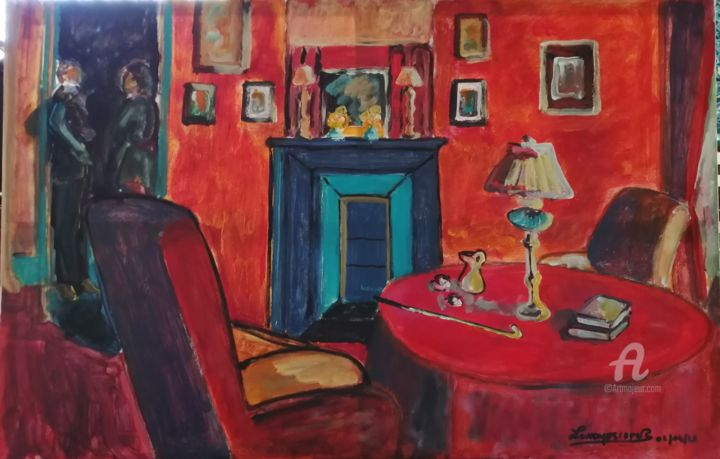 Intérieur rouge, la veillée hommage à Mr Daly - Painting,  35.4x47.2 in ©2019 by Rodolphe Lavayssiere -                                                Figurative Art, Expressionism, Fauvism